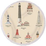 Lighthouses Of The Gulf Coast Round Beach Towel