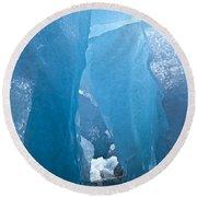 Lighting In Nigardsbreen Glacier Grotto 1 Round Beach Towel