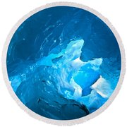 Lighting In Nigardsbreen Glacier Grotto 3 Round Beach Towel