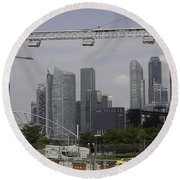 Lighting Work For The Singapore Formula One And A View Of The Helix Bridge Round Beach Towel