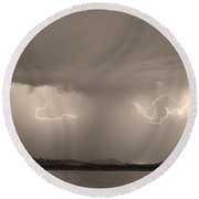 Lightning And Sepia Rain Over Rocky Mountain Foothills Round Beach Towel by James BO  Insogna