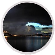 Lightning And The Cerulean Sky Round Beach Towel