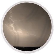 Lightning Goes Boom In The Middle Of The Night Sepia Round Beach Towel
