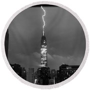 Lightning Hits Empire State Round Beach Towel