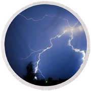 Lightning In Montrose Colorado Round Beach Towel
