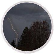 Lightning Over Grants Pass Round Beach Towel