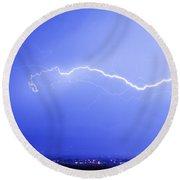Lightning Over North Boulder Colorado  Ibm Round Beach Towel