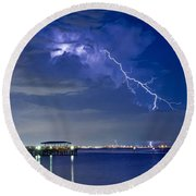 Lightning Over Safety Harbor Pier Round Beach Towel