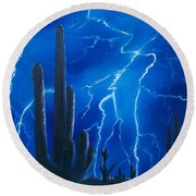 Lightning  Over The Sonoran Round Beach Towel by Sharon Duguay