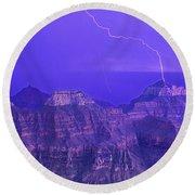 Lightning Storm North Rim Grand Canyon National Park Arizona Round Beach Towel