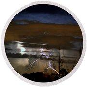 Lightning Storm Round Beach Towel