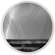 Lightning Strike Boulder Reservoir And Coot Lake Bw Round Beach Towel by James BO  Insogna