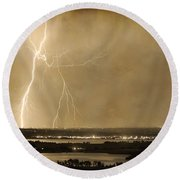 Lightning Strike Boulder Reservoir And Coot Lake Sepia 2 Round Beach Towel by James BO  Insogna