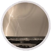 Lightning Strike Boulder Reservoir And Coot Lake Sepia Round Beach Towel by James BO  Insogna