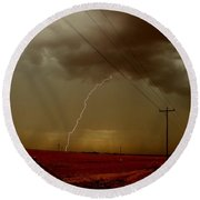 Lightning Strike In Oil Country Round Beach Towel