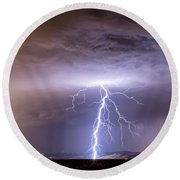 Lightning Strikes Following The Rain  Round Beach Towel