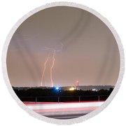 Lightning Strikes Next To Highway Panorama Round Beach Towel