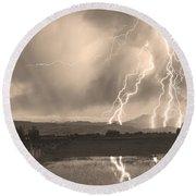 Lightning Striking Longs Peak Foothills Sepia 4 Round Beach Towel