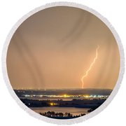 Lightning Striking Over Coot Lake And Boulder Reservoir Round Beach Towel by James BO  Insogna