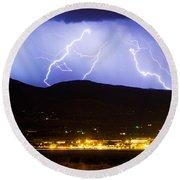 Lightning Striking Over Ibm Boulder Co 3 Round Beach Towel