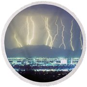 Lightning Striking Over Phoenix Arizona Round Beach Towel