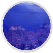 Lightning Strkes At The North Rim Grand Canyon National Park Round Beach Towel