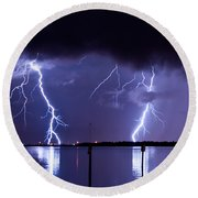 Lightning Over Tampa Causeway Round Beach Towel
