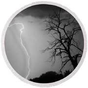 Lightning Tree Silhouette Black And White Round Beach Towel