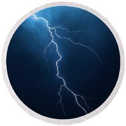 Lightning With Cloudscape Round Beach Towel