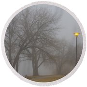 Lights And Fog Setting The Mood Round Beach Towel