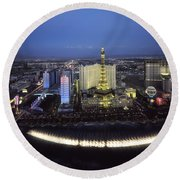 Lights Of Vegas Round Beach Towel