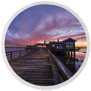 Lights On The Dock Round Beach Towel
