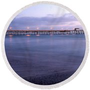 Lights On The Pier Round Beach Towel