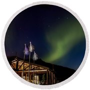 Lights Over Princess Denali Lodge Round Beach Towel