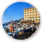 Liguria - Harbor In Camogli Round Beach Towel