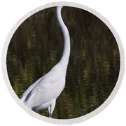 Like A Great Egret Monument Round Beach Towel
