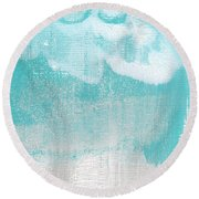 Like A Prayer- Abstract Painting Round Beach Towel by Linda Woods