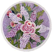 Lilac And Rose Bouquet Round Beach Towel