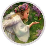 Lilac Angel Round Beach Towel
