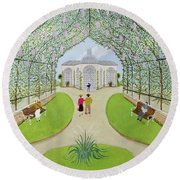 Lilac Arbour Oil On Board Round Beach Towel