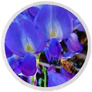 Lilac Blossom And Honey Bee Round Beach Towel