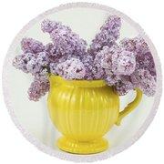 Lilac Boquet - Yellow Vase Round Beach Towel