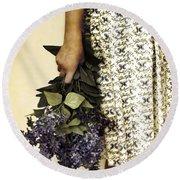 Lilac Bouquet Round Beach Towel