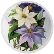 Lilac Clematis Round Beach Towel