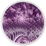 Lilac Fractal World Round Beach Towel