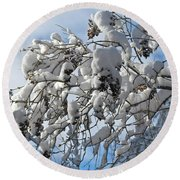 Lilac In Winter Round Beach Towel