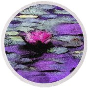 Lilac Lily Pond Round Beach Towel
