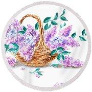 Lilac Vintage Impressionism Painting Round Beach Towel