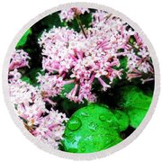 Lilacs After The Rain Round Beach Towel