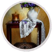 Lilacs And Lace Round Beach Towel